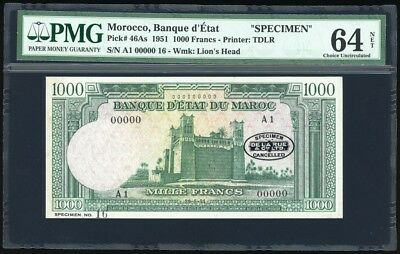 Morocco 1000 Francs Specimen P46As PMG Gem Uncirculated 64 NET - FINEST KNOWN