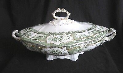 Wedgwood & Co Phoebe Green Oval Covered Handled Serving Dish - England - Antique
