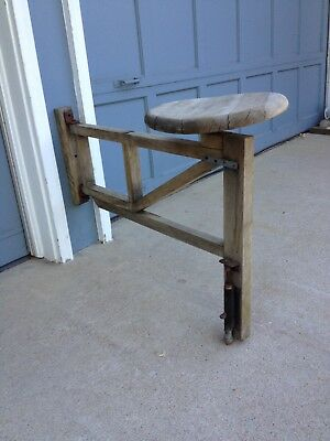 Vintage library clerk drafting wall mount wood swivel swing out seat stool