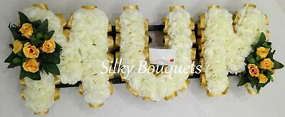 Artificial Silk Funeral Flower Mum Tribute Any 3 Letter Name Wreath Nan Son Dad