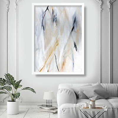 Abstract Painting Art Print White Blue Yellow Wall Poster 3 Contemporary Decor