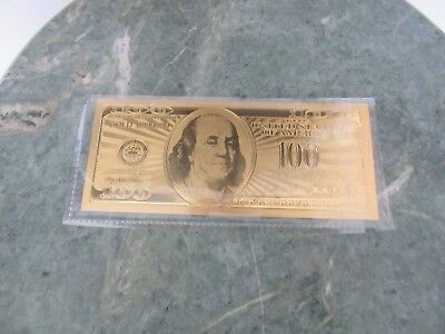 .999 Pure 24K Gold $100 Dollar Bill 2 Side Novelty Note Excellent Condition