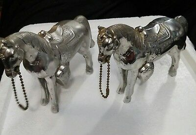 Two 4 inch Vintage Carnival Prize Silver-Colored Pot Metal Horse Figures