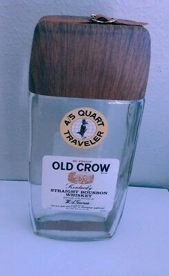 Vtg '70's Old Crow Whiskey Traveler Fifth W/buckle Strap Empty Bottle~Packs Flat