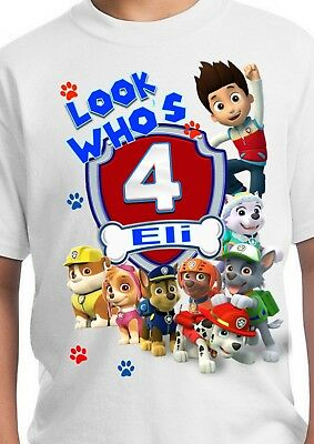 Paw Patrol Inspired Birthday Shirt Personalized Custom Name And Age