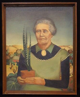Antique/Vintage Oil on Canvas Painting of Woman with Plants After Grant Wood