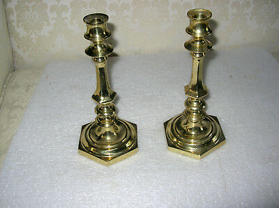 "Pair Virginia Metalcrafters 11"" Brass Sheraton Candlesticks"