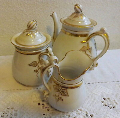 Antique H & C Heinrich Oversized Breakfast Chocolate Teapot Creamer Sugar Gold