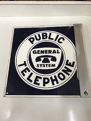 Vintage PUBLIC TELEPHONE - GENERAL SYSTEM SIGN Metal Double-Sided ADVERTISING