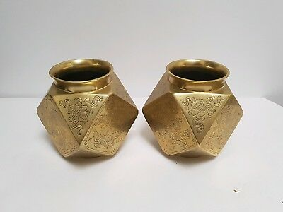 Antique 19th Century Chinese Bronze Faceded Vases