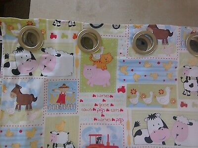 Homemade  Baby nursery eyelet curtains boy or girl farmyard