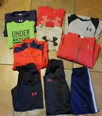 Boys youth under armour lot Shorts and tops pants Hoddies Size YSM Small 7