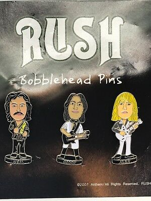RUSH Bobblehead Pins Band Members Officially Licensed 3 Pack Button Set NIP