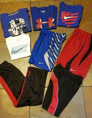 Boys Nike and under armour lot Shorts and tops pants Size YSM Small 7