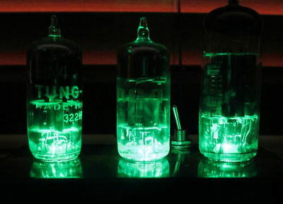 Vintage Vacuum Tube Light Fixture ~ Older Technology with Three Green LEDs ~