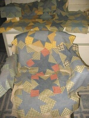 antique patchwork quilt blocks cotton fabric some stars duck feet ?vtg