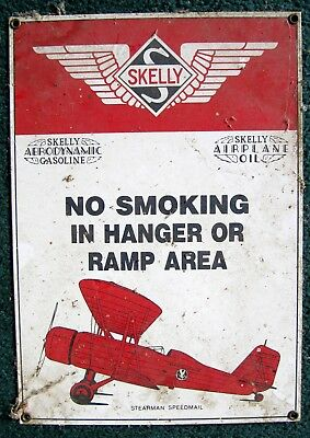 """no Smoking!"" Glass Fired Porcelain Steel Skelly Aviation Petroleum Airport Sign"