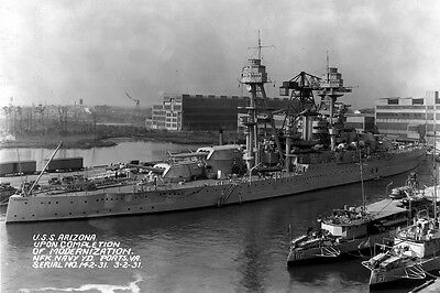 New 5x7 Photo: Starboard View of USS ARIZONA after Modernization, Virginia