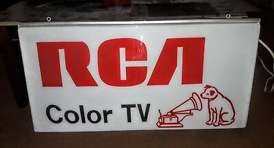 """Vintage Large Lighted """"RCA Color Tv"""" Sign, 38"""" Wide by 19"""" Tall...Look...Read"""