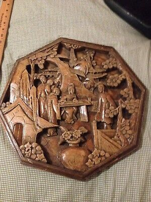 Vintage Octagonal Wood Carved Hanging Plaque Panel