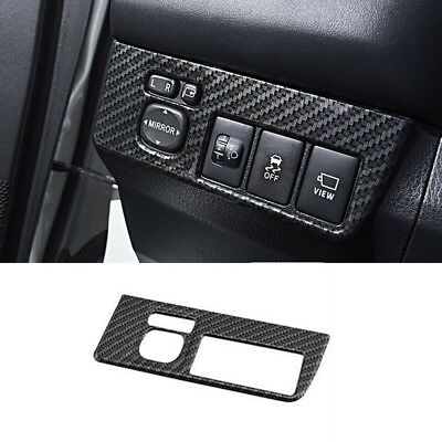 Carbon Fiber Interior Rearview Mirror Switch Cover Trim For Toyota RAV4 2013-18