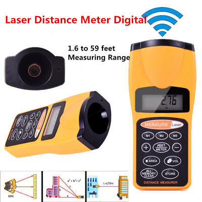 Digital Ultrasonic Laser Distance Meter Range Finder Measure Tape