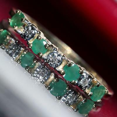10k yellow gold ring 0.38ct emerald & diamond size 8 band vintage 1.5gr