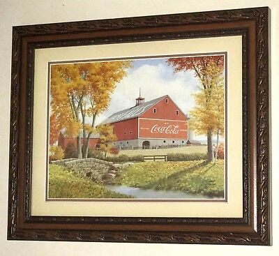 """Coca Cola AD Framed Print Picture Reproduction - 12""""x10""""Art Country Barn Autumn"""