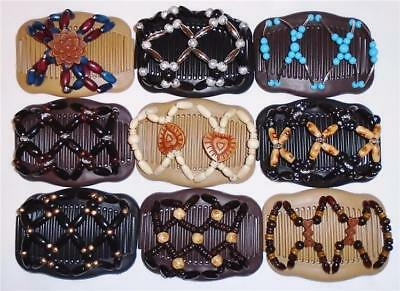 """Double Hair Combs, Angel Wings Clips 4x3.5"""", African Butterfly Style,Quality S49"""