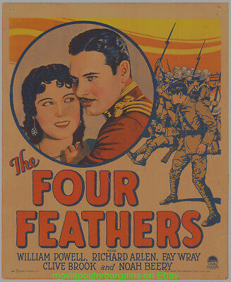 THE FOUR FEATHERS MOVIE POSTER Original 1929 Window Card Size 14x22 Now Trimmed