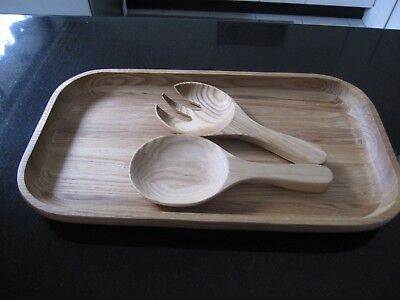"""Cucina""  Wooden long salad tray with servers."