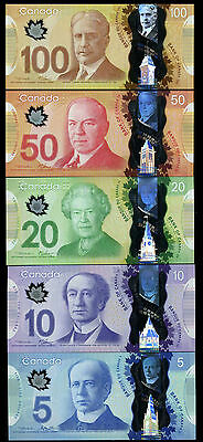 """CANADA""Rare""$5 10 20 50 100 Dollar""SUPERB GEM UNC""1 set 5 Notes"""
