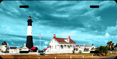 Airbrushed Tybee Island lighthouse Blue car tag novelty license plate #2