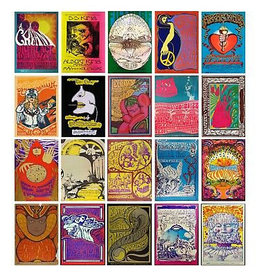Vintage MUSIC CONCERT 60s 70s A3 A4 POSTERS Psychedelic FAST SHIPPING FROM UK