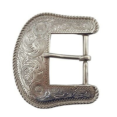 Western belt buckle with engrave work silver look finish