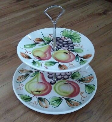 Vintage Italian Hand Painted 2-tier Cake Stand Fruits Pattern Silver Handle VGC