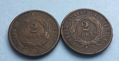 1864 & 1869 United States 2 cent coins.