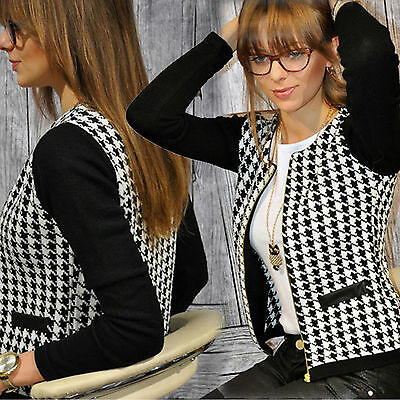 Women Winter Casual Tops Slim Suit Blazer Short Coat Jacket Plaid Outwear Zipper