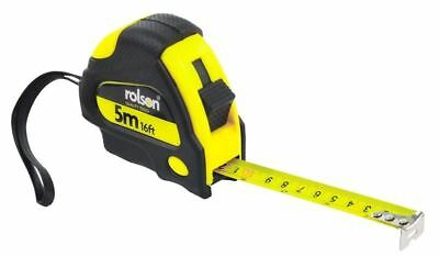 Rolson 5m x 19mm Measure Tape Thumb Operated Lock Carry Strap Belt Clip
