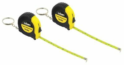 2 Rolson Mini Tape Measuring Keyrings - Tools Builders Home Garage Rubber Small