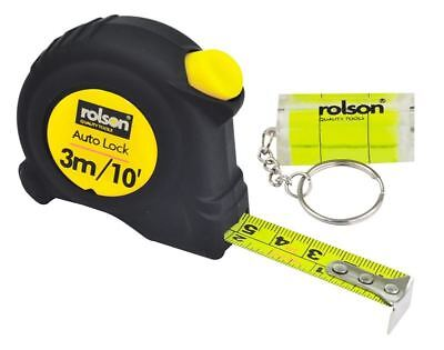 3M / 10Ft Tape Measure With Mini Spirit Level - Auto Lock Keyring Measuring Kit