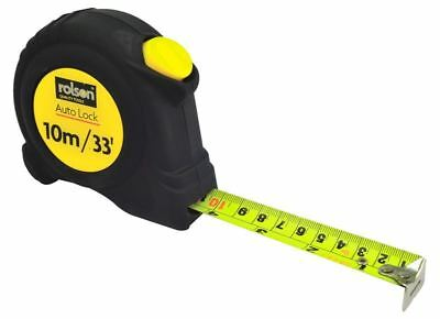 Rolson Tape Measure Tape Metre Blade 25mm 10m/33' Rubber Grip Auto Lock System