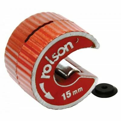 Rolson Rotary 15mm Copper Pipe Tube Cutter Self Locking + Spare Slicer Wheel