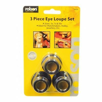3pc Jewellers Lens Watchmaker Eye Loupe Magnifying Glass Set Hallmarks Engraving