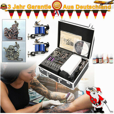 Neu Komplett Set 4 TattooMaschine Schwarz Koffer 8 Nadeln 7 Farben Power Supply