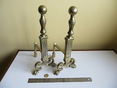 Large Vintage Antique Style Brass Metal Hearth Fire Dogs with Paw Feet /No Irons
