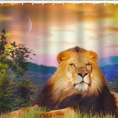 Male Lion & Mane Wild Cat King Of The Jungle Bathroom Shower Curtain Polyester
