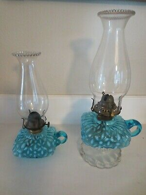 Rare Antique Hobbs Blue Snowflake Footed Finger Lamp