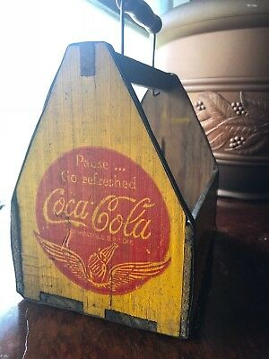 Coca Cola wood bottle carrier 1940's yellow red logo sign crate COKE