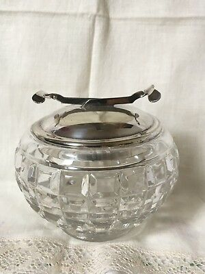 Antique Glass Sugar Bowl, Silver Plated Lid & S.O.S. Pascall's Mechanical Tongs.